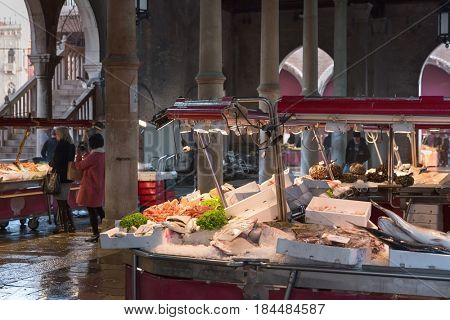 February 18, 2017 - People are shopping for fish market in Venice, Italy Fresh seafood photographed in fish market