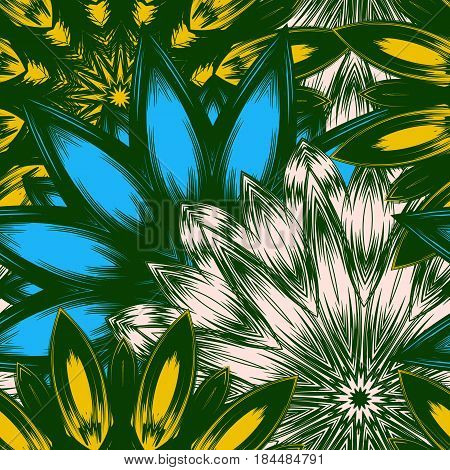 Seamless Floral Background. Tracery Handmade Nature Ethnic Fabric Backdrop Pattern With Flowers. Tex