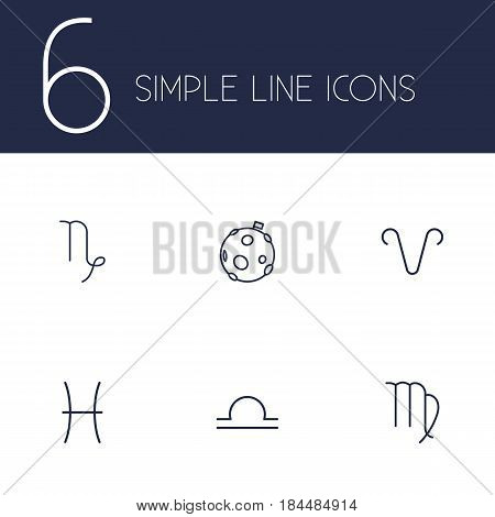 Set Of 6 Astrology Outline Icons Set.Collection Of Virgo, Capricorn, Pisces And Other Elements.