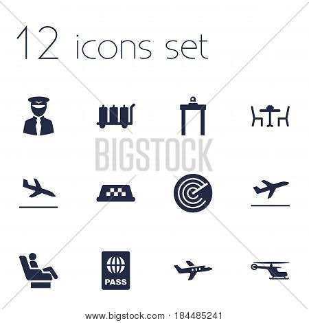 Set Of 12 Aircraft Icons Set.Collection Of Cab, Metal Detector, Radiolocator And Other Elements.