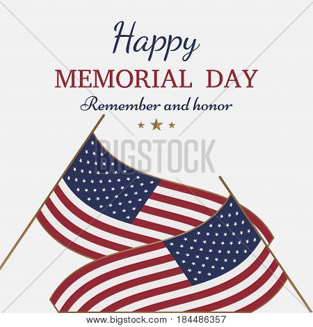 Happy Memorial Day. Greeting Card With Flag On Background. National American Holiday Event.