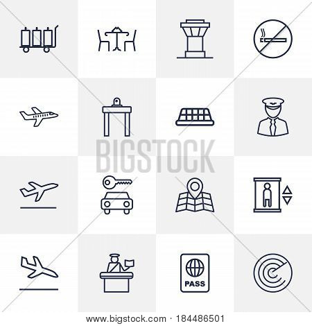 Set Of 16 Aircraft Outline Icons Set.Collection Of Luggage Trolley, No Smoking, Sit And Other Elements.