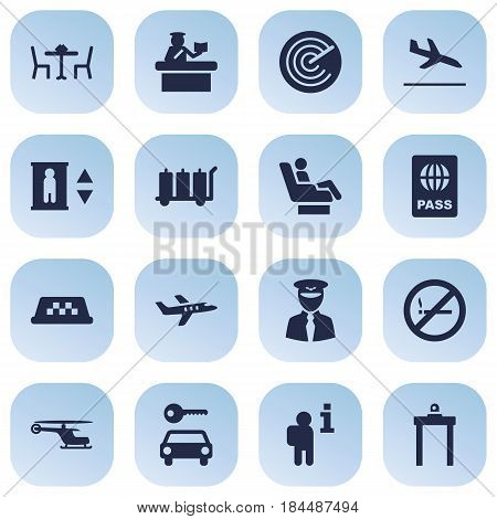 Set Of 16 Aircraft Icons Set.Collection Of Security, Automobile, Cab And Other Elements.