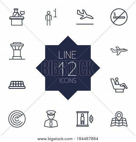 Set Of 12 Land Outline Icons Set.Collection Of Pilot, Elevator, Passport Controller And Other Elements.
