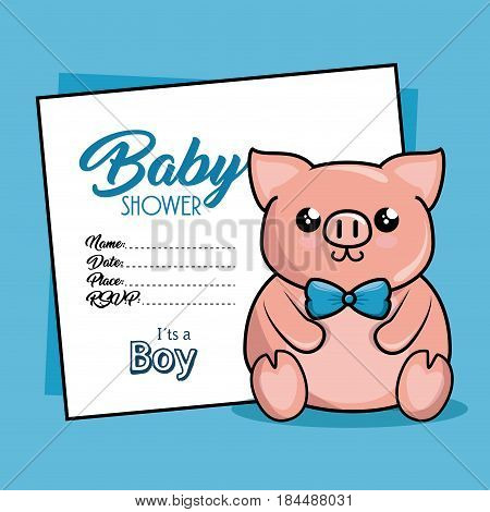 baby shower card with pig vector illustration design