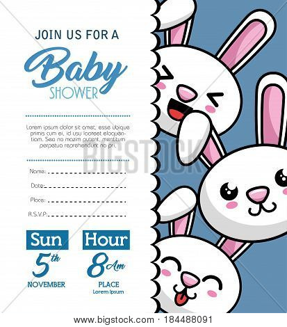 baby shower card with rabbit vector illustration design
