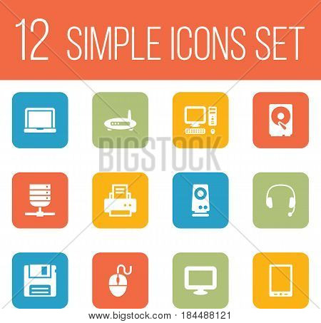Set Of 12 Notebook Icons Set.Collection Of Headset, Laptop, Peripheral And Other Elements.