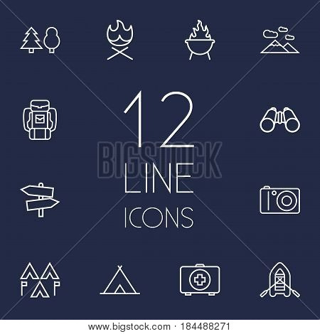 Set Of 12 Outdoor Outline Icons Set.Collection Of Photographing, Shelter, Baggage And Other Elements.