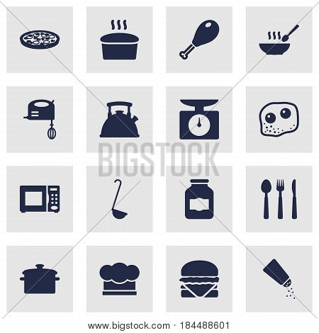 Set Of 16 Kitchen Icons Set.Collection Of Weighing Machine, Silverware, Chef Cap And Other Elements.