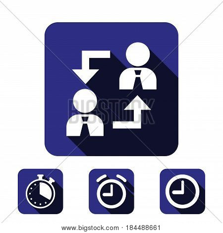 Business people team crowdy walk silhouette concept businesspeople group human resources over world map background vector icon