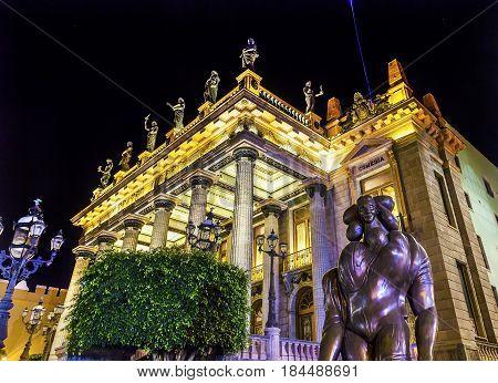 GUANAJUATO, MEXICO - DECEMBER 31, 2014 Juarez Theater Statues Night Guanajuato Mexico