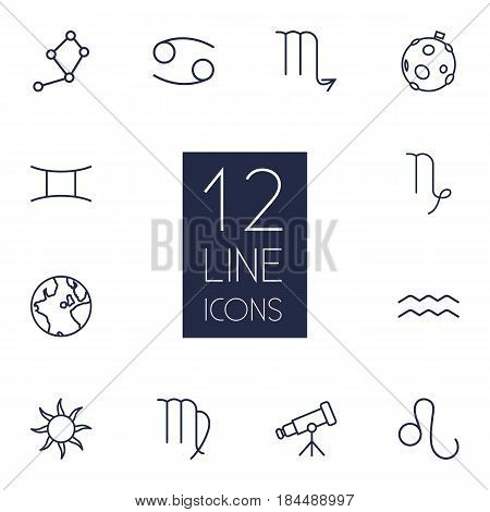 Set Of 12 Astrology Outline Icons Set.Collection Of Cancer, Leo, Constellation And Other Elements.