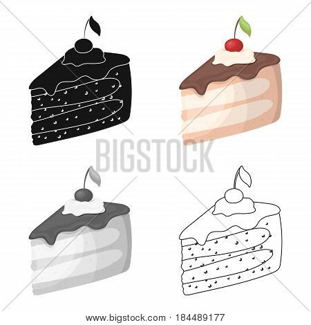 Sweet cake with cherry and leaf.Party and parties single icon in cartoon style vector symbol stock web illustration.