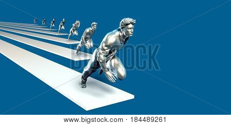 Empowered Team of People with a Positive Mindset Running 3D Illustration Render