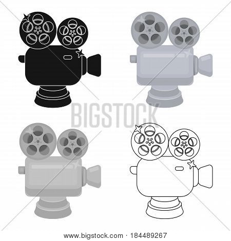 Silver camera with film.The award for the best filming of the movie.Movie awards single icon in cartoon style vector symbol stock web illustration.