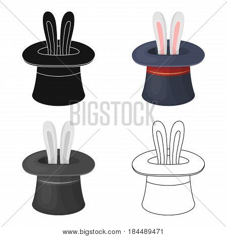 Ears of a hare in a hat. Foci.Party and parties single icon in cartoon style vector symbol stock web illustration.