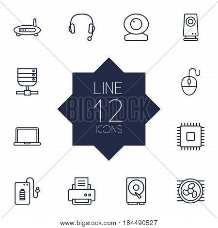 Set Of 12 Laptop Outline Icons Set.Collection Of Headphone, Modem, Cpu And Other Elements.