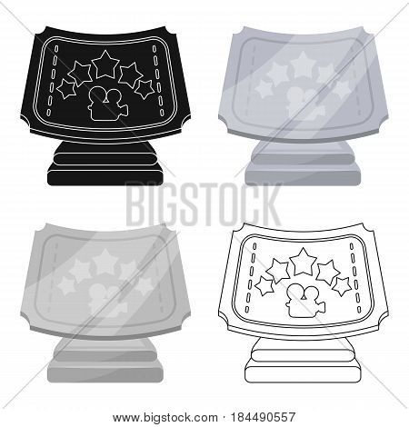 Silver prize with star, and camera on a stand.Movie awards single icon in cartoon style vector symbol stock web illustration.