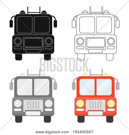 Fire truck icon cartoon style. Single silhouette fire equipment icon from the big fire Department cartoon.