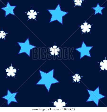 Artistic white and blue stars pattern on dark colored background poster