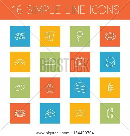 Set Of 16  Outline Icons Set.Collection Of Pretzel, Rolling Pin, Pancakes And Other Elements.
