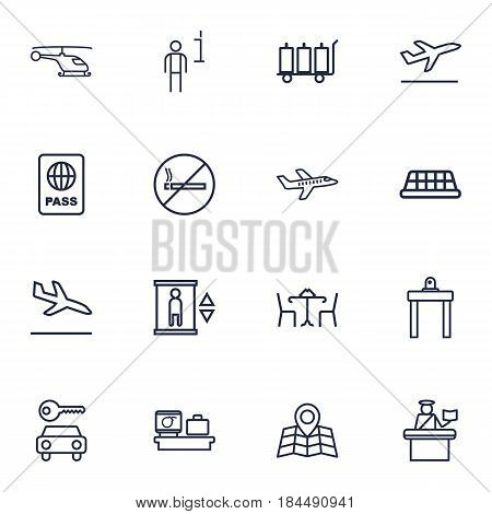 Set Of 16 Aircraft Outline Icons Set.Collection Of Cafe, Flight, Airport Security And Other Elements.