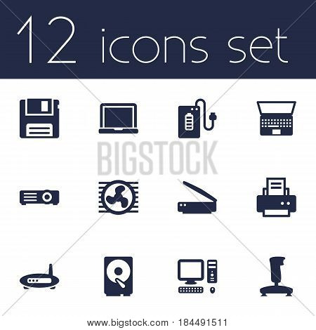 Set Of 12 Laptop Icons Set.Collection Of Computer, Hard Disk, Router And Other Elements.