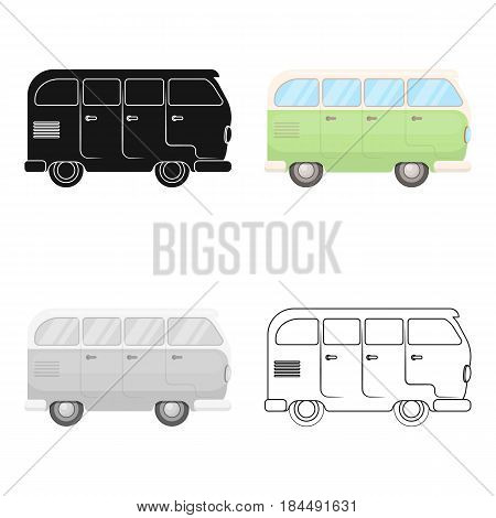 Green bus.Hippy single icon in cartoon style vector symbol stock illustration .