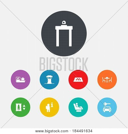 Set Of 9 Aircraft Icons Set.Collection Of Metal Detector, Vip, Air Traffic Controller And Other Elements.