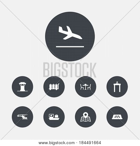 Set Of 9 Airplane Icons Set.Collection Of Metal Detector, Cab, Luggage Check And Other Elements.