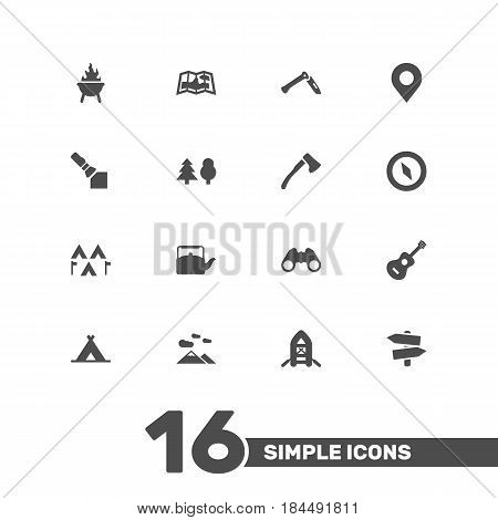 Set Of 16 Picnic Icons Set.Collection Of Location, Camp, Optical Zoom And Other Elements.
