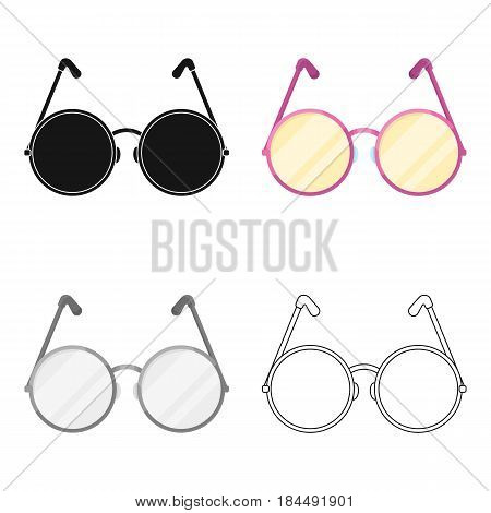 Round glasses in a pink frame.Hippy single icon in cartoon style vector symbol stock illustration .