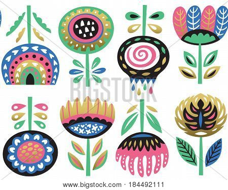 Lovely traditional folk art garden pattern. Vector flowers with golden elements. Fashion seamless background