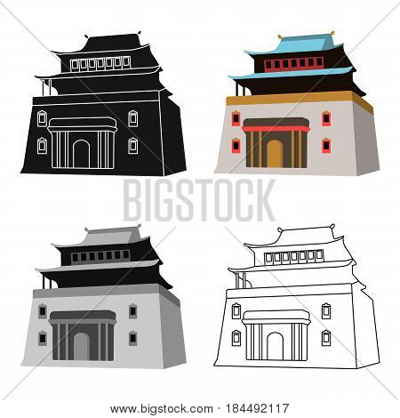 The three-storey building in Mongolia.Mongolian national Shrine of Mitarai.Mongolia single icon in cartoon style vector symbol stock web illustration.
