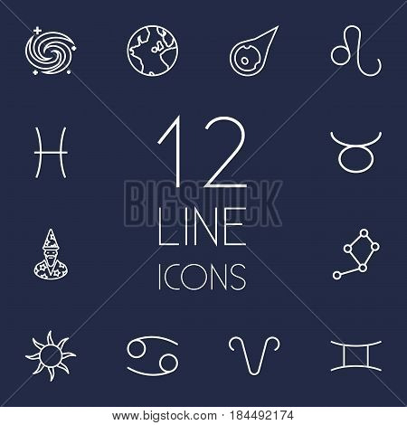 Set Of 12 Astronomy Outline Icons Set.Collection Of Astrologer, Leo, Cancer And Other Elements.