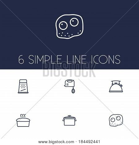 Set Of 6 Kitchen Outline Icons Set.Collection Of Grater, Pan, Mixer And Other Elements.