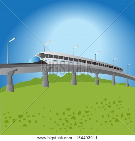 High-speed commuter train. vector illustration. background, convenient