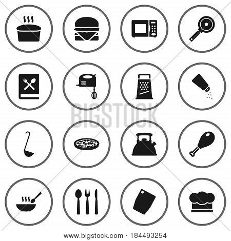 Set Of 16 Culinary Icons Set.Collection Of Saltshaker, Blender, Cooking Instruction And Other Elements.