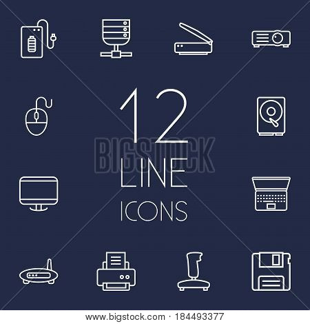Set Of 12 Computer Outline Icons Set.Collection Of Projector, Printer, Floppy And Other Elements.