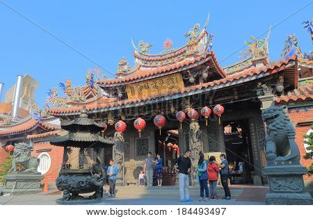 TAICHUNG TAIWAN - DECEMBER 10, 2016: Unidentified people visit Lecheng temple. Lecheng temple has been declared a category three historical site by Taiwan's national government.