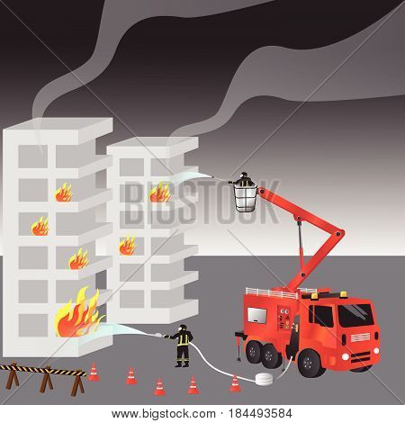 Red fire truck and fireman in uniform. Firefighters. Fire brigade and team. Rescue. Vector illustration.