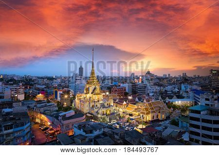 Wat Traimit Witthayaram Worawihan near China town at Bangkok. The attractive bangkok's temple for tourism and temple of the Biggest Golden Buddha in Bangkok, Thailand