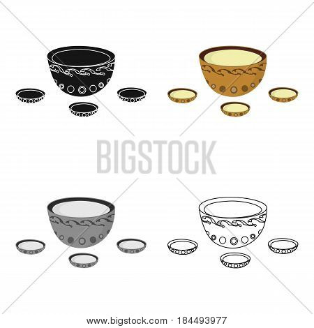 A plate with three cups and Mongolian ornaments.The national dish of the Mongols.Mongolia single icon in cartoon style vector symbol stock web illustration.