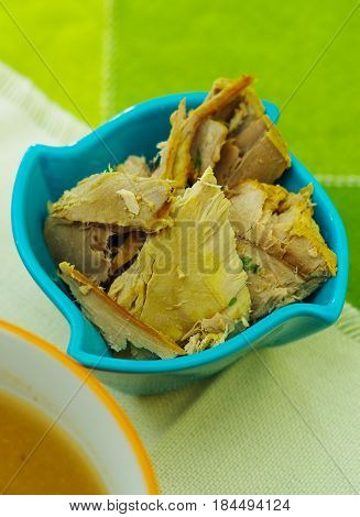 Delicious Albacore fish usefull for prepare the Ecuadorian traditional food national dish encebollado.
