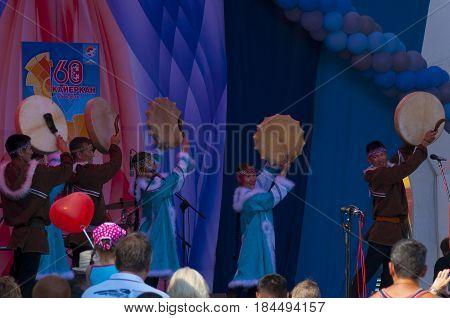 KAYERKAN NORILSK KRASNOYARSKIY KRAY - JULY 17 2016. A performance of local national ensemble representatives of radical small naprod at the celebration of the City Day.