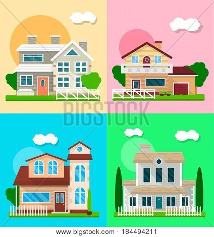 Detailed graphic houses colorful collection. Vector poster of four modern residential buildings with two floors, with and without garage, enclosed by white fence. Places for living template banner
