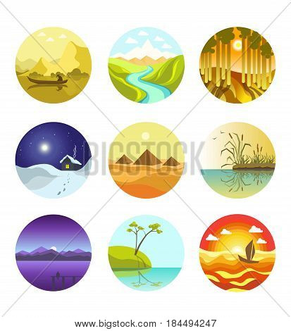 Abstract natural landscapes circular logo icons vector banner in flat design on white. Beauty of nature shown on colorful round images in hot and cold weather types and in various places on planet.