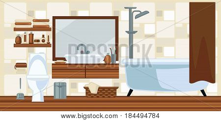 Washroom interior design in brown colors flat illustration. Vector colorful picture of restroom with toilet and white bathtub, laundry basket, litter bin and beauty products with towels on shelves