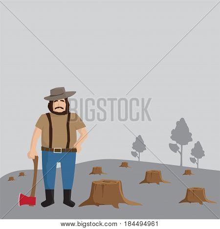 Logger man, lumberjack, background, worker illustration.