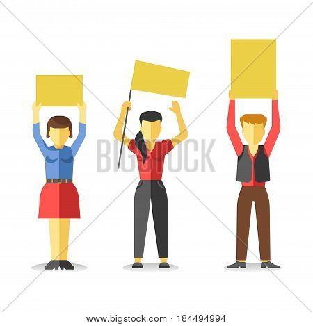 Protesting people holding empty yellow banners above head isolated on white. Vector of strike at demonstration in flat style design. Worker demonstrators with hands up, revolution for freedom